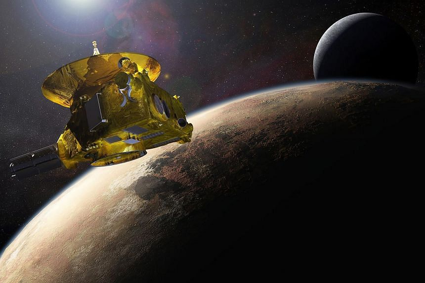 An artist's impression of Nasa's New Horizons spacecraft encountering Pluto and its largest moon, Charon.