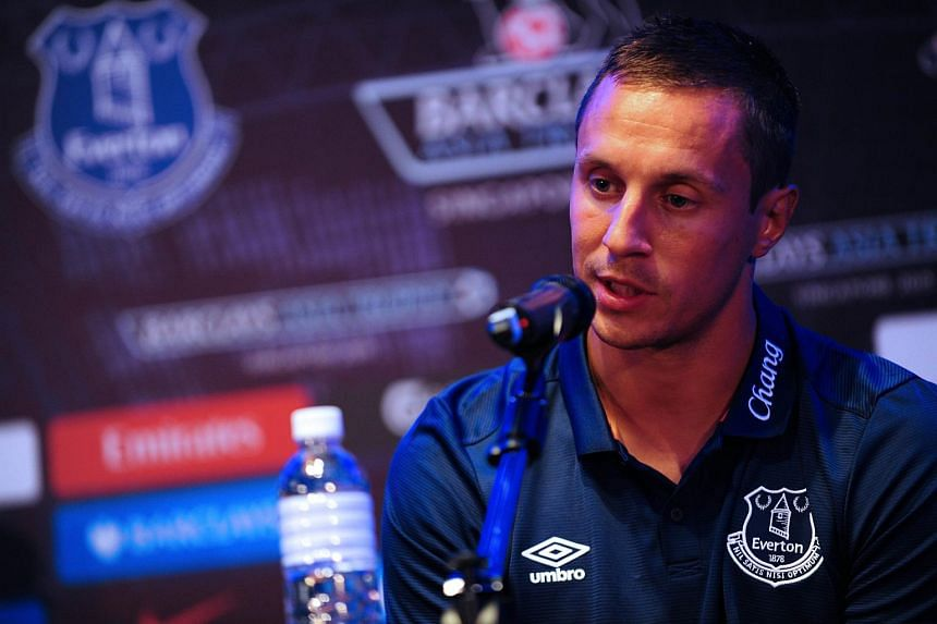 Everton captain, Phil Jagielka speaks during a press conference for the Barclays Asia Trophy 2015 (BAT) in Singapore on July 14, 2015.