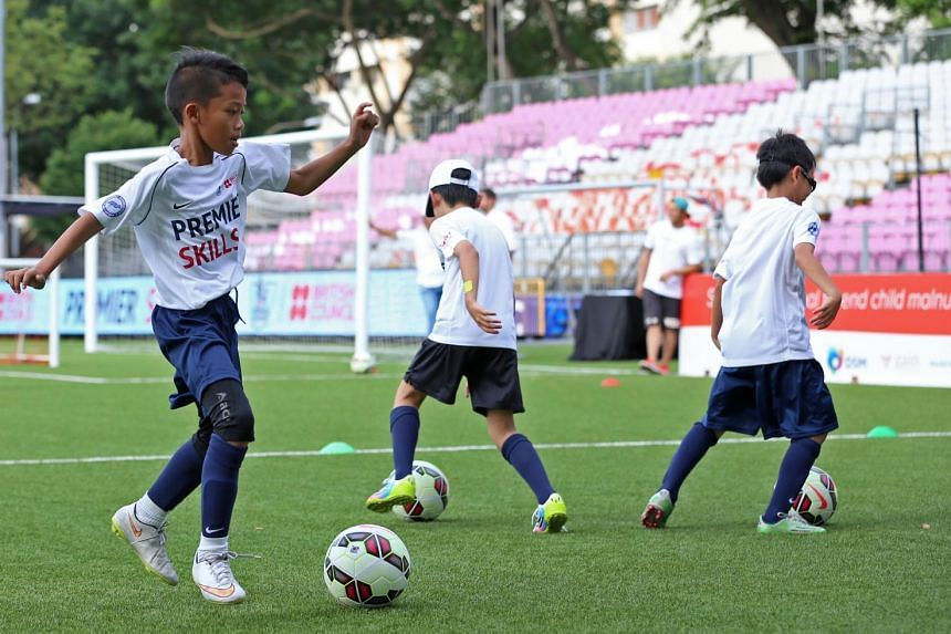 Children participating in the Premier Skill Festival at Jalan Besar Stadium on July 14, 2015.