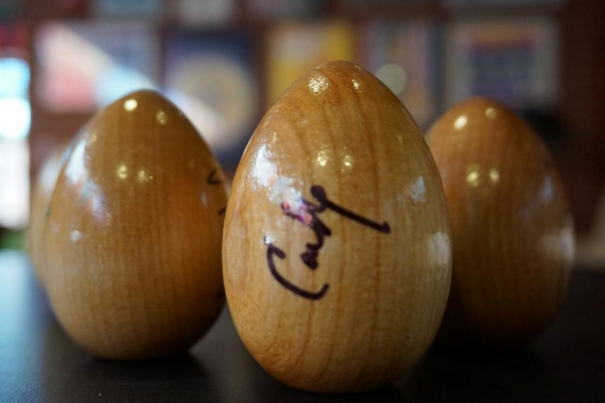 Speakers at Politics & Eggs events, such as former Hewlett-Packard chief executive Carly Fiorina, often sign their names on wooden eggs.