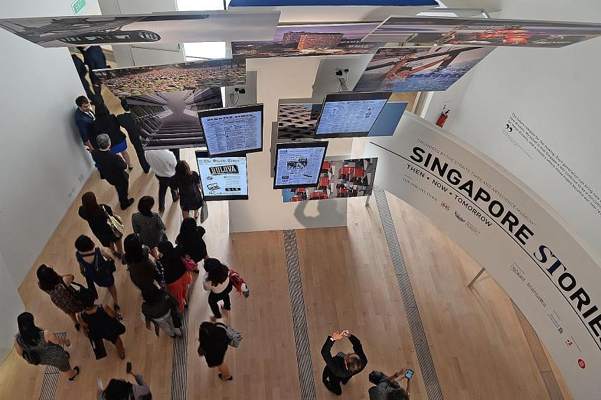 (From left) CapitaLand president and group chief executive Lim Ming Yan, ST editor Warren Fernandez, ArtScience Museum executive director Honor Harger, and Standard Chartered Bank Singapore CEO Neeraj Swaroop at a press conference on the exhibition y