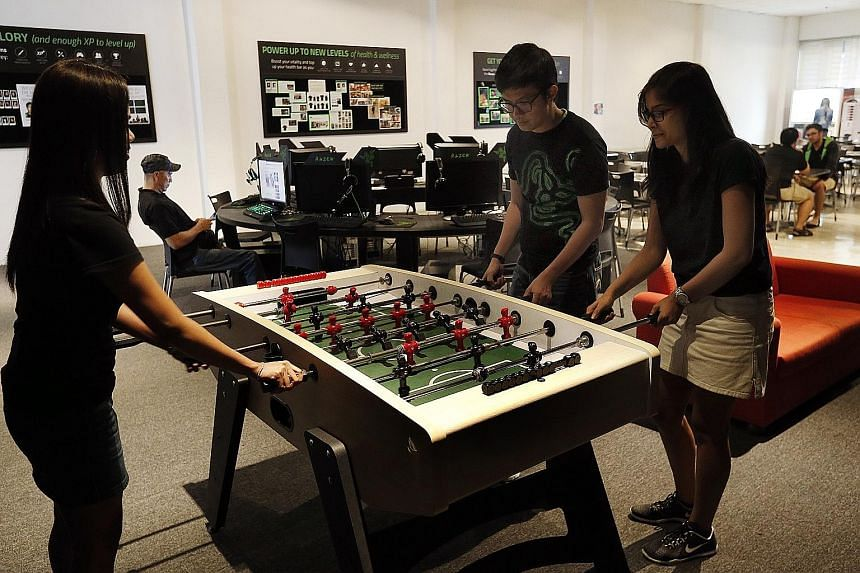 Razer's office has a recreational area complete with a foosball table, a console gaming area and a LAN gaming centre.