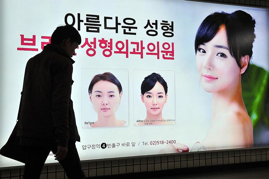 An ad for a plastic surgery clinic in Seoul. The good reputation of South Korea's plastic surgeons has drawn hundreds of thousands of medical tourists.