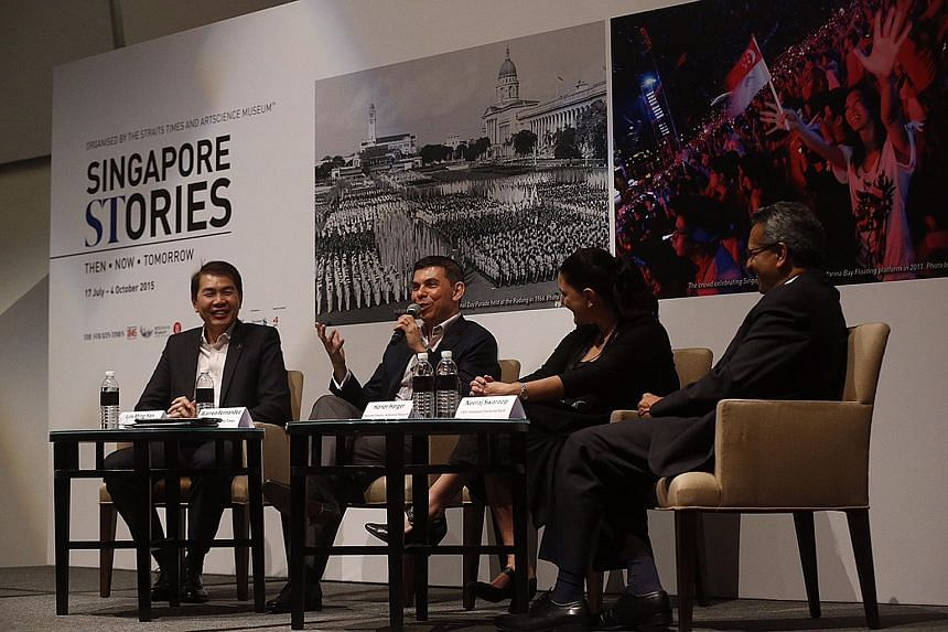 Visitors at yesterday's press launch of Singapore STories: Then, Now, Tomorrow, at the ArtScience Museum. Instead of going by chronological order, the exhibition will give visitors a taste of Singapore through themes, according to the sections of thi