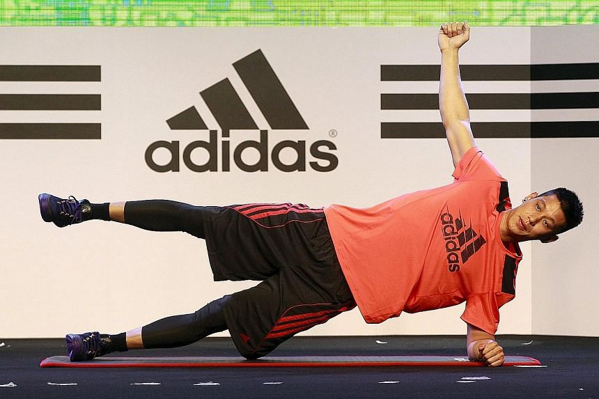 Jeremy Lin, then with the Los Angeles Lakers, demonstrates his training routines during a promotional event as part of his Asia tour in Taipei, Taiwan. He feels that joining the Charlotte Hornets will let him fulfil his potential.