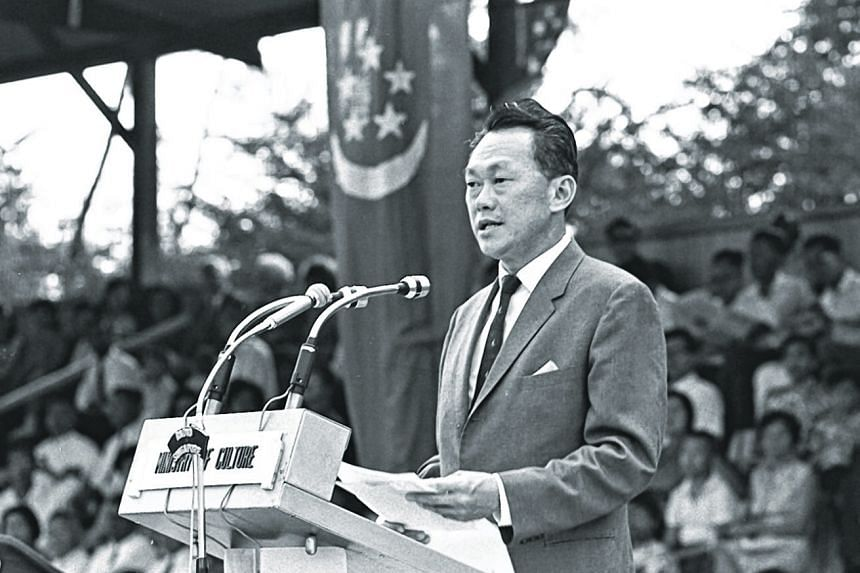 """In 1968, then prime minister Lee Kuan Yew (below) talked about the """"grave problem of identity"""". All new countries faced this problem when an era of stability comes to an end, he said. In Singapore's case, there were added complications."""
