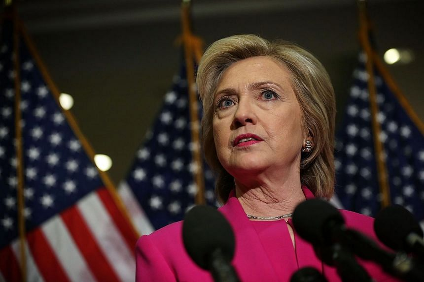 US presidential hopeful Hillary Clinton speaking to members of the media in Washington, DC.