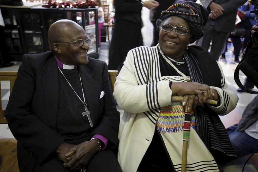 Desmond Tutu and wife Leah renew their vows for their 60th wedding anniversary on July 2, 2015.