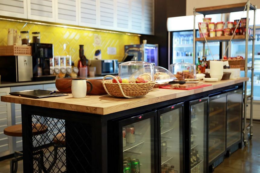 The pantry at Facebook - this one stores alcohol and has a fresh breakfast bar where pastries and bread are served every morning.