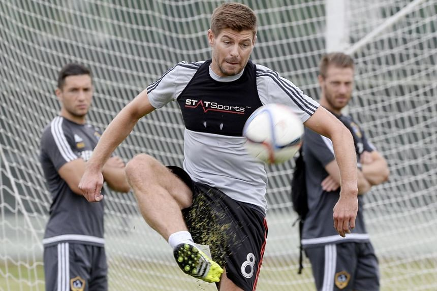 Los Angeles Galaxy midfielder Steven Gerrard controls the ball during a training session.