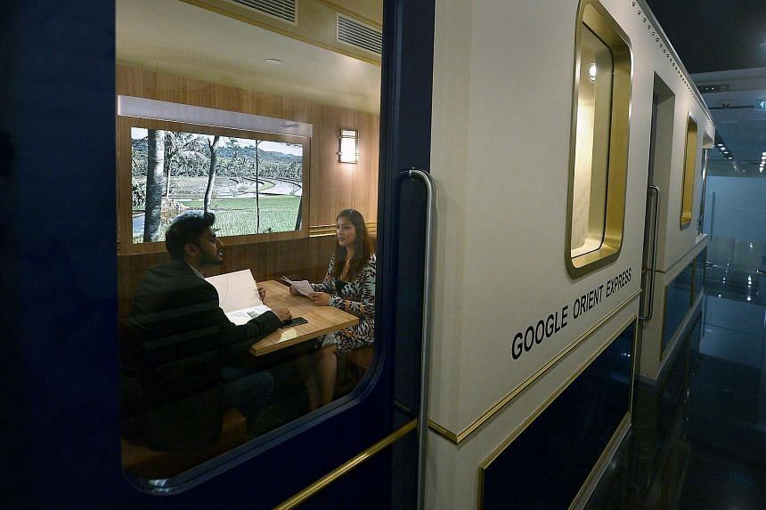 Meeting spaces at Google can be quite unconventional, such as the Google express which resembles train carriages.