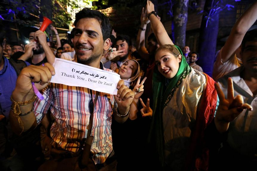 Iranians gather in celebration in northern Teheran.
