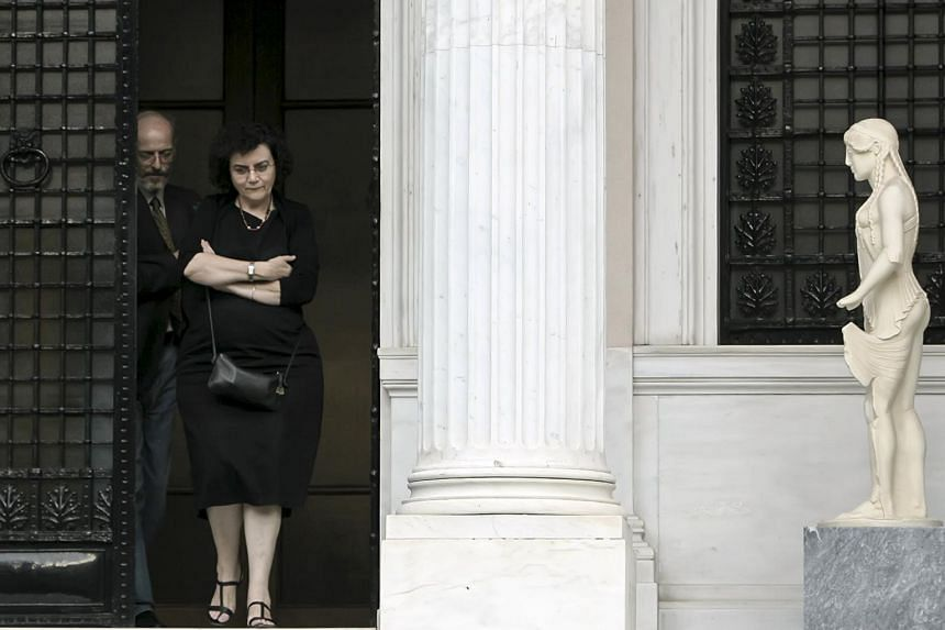 A file picture of Nadia Valavani leaving the Prime Minister's office at the Maximos Mansion in Athens, Greece June 30, 2015. Ms Valavani, one of Greece's two deputy finance ministers resigned from the leftwing government on Wednesday, ahead of a cruc