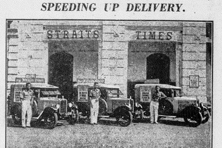 The fleet of Morris Minor delivery vans bought by The Straits Times at a time in the 1930s when many other firms were cutting costs.