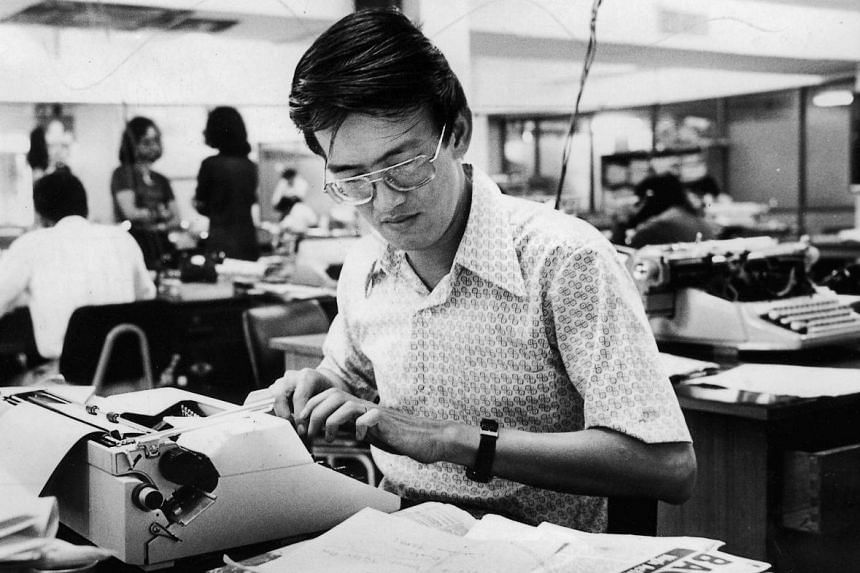 Mr Cheong Yip Seng at work in 1974 when he was New Nation's assistant editor.