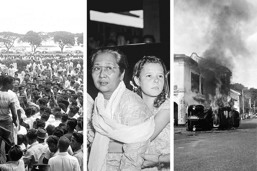(From left) Protesters gathered at the Padang on Dec 11, 1950, the day the riots broke out; Maria Hertogh and her foster mother Aminah Mohamed on May 19; a vehicle on fire during the riot.