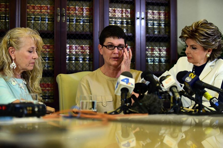 Alleged Bill Cosby victims (from far left) Rebecca Lynn Neal and Beth Ferrier with their attorney, Ms Gloria Allred.