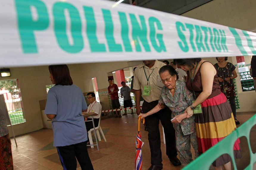 A polling station in Hougang during the 2011 General Election.