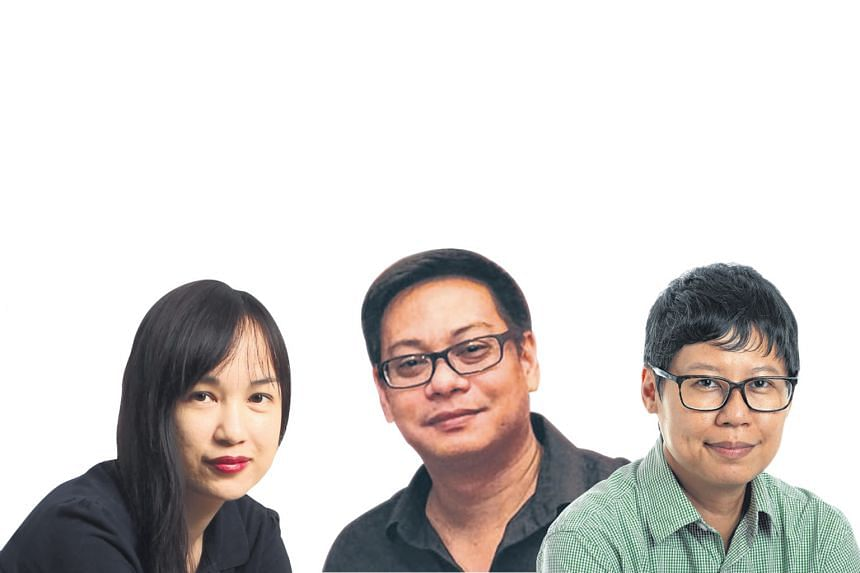 (From left) Straits Times sub-editor Denise Chong, artist Manny Francisco and photographer Joyce Fang.