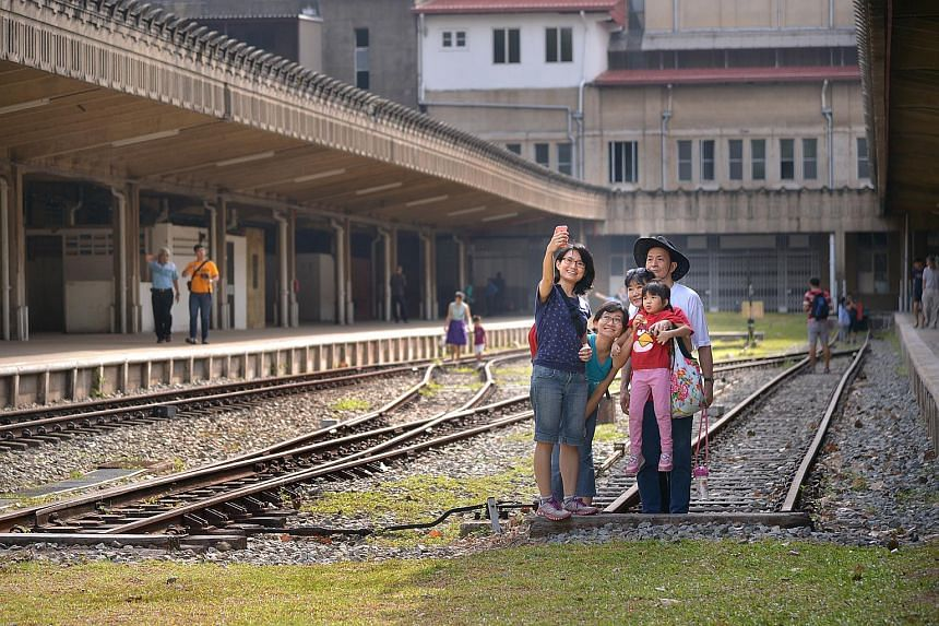 Visitors at the former Tanjong Pagar Railway Station.