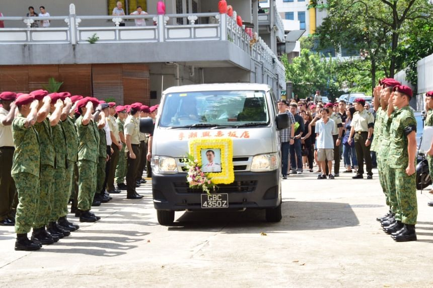 Newly-married Warrant Officer Yeo Kai Meng, who was given a military funeral, died in a motorcycle accident on July 12.
