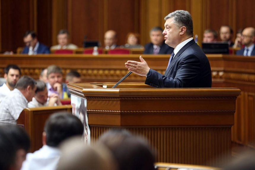Ukrainian President Petro Poroshenko speaking during a parliament session in Kiev on July 16, 2015. Ukraine's Parliament began on Thursday the first step in possibly granting the separatist eastern part of the country autonomous rule.