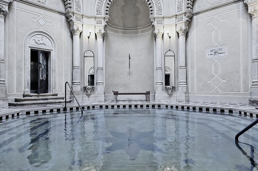 The Racz Bath (above) in Budapest was founded by the ancestor of Mr Stephen de Heinrich de Omorovicza (left). His beauty label Omorovicza carries products such as the Queen of Hungary Mist (below).