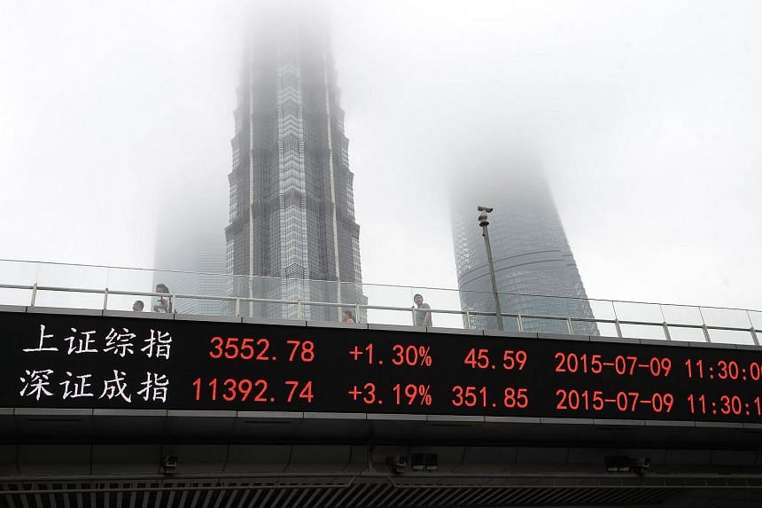 A screen that shows the Shanghai Composite Index (top) and the Shenzhen Component Index is seen in Shanghai on July 9, 2015.