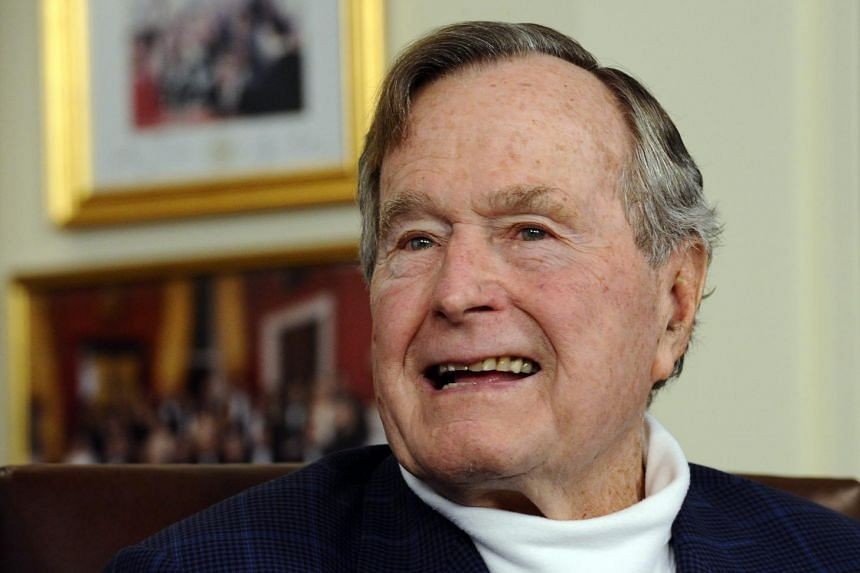 US President George H.W. Bush in his office in Houston, Texas, USA on March 29, 2012.