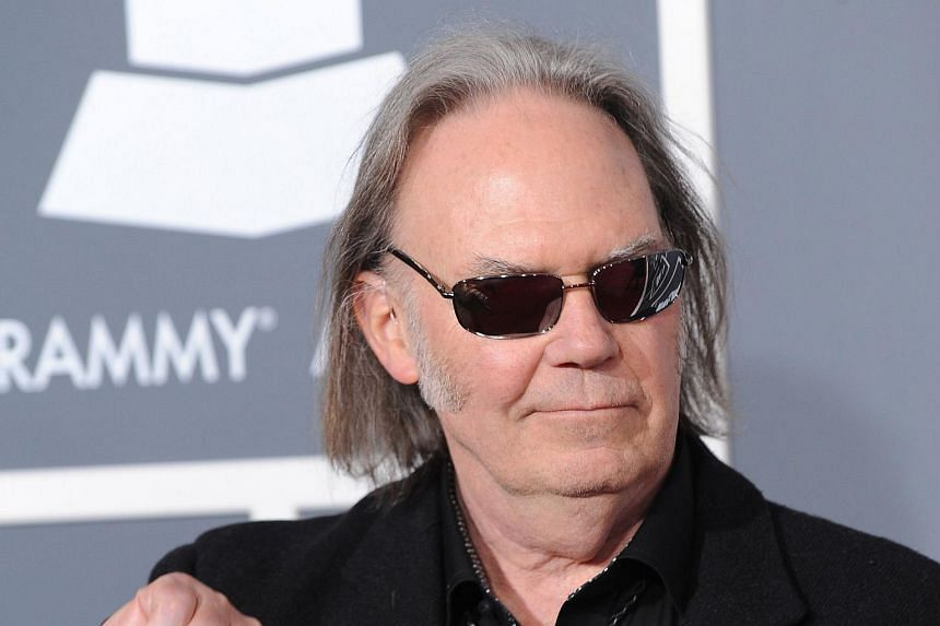 Neil Young arrives for the 53rd annual Grammy Awards at the Staples Centre in Los Angeles, California.