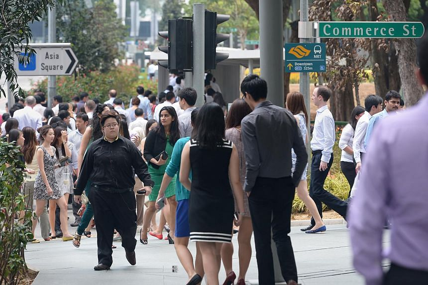 The office crowd in Singapore's Central Business District.