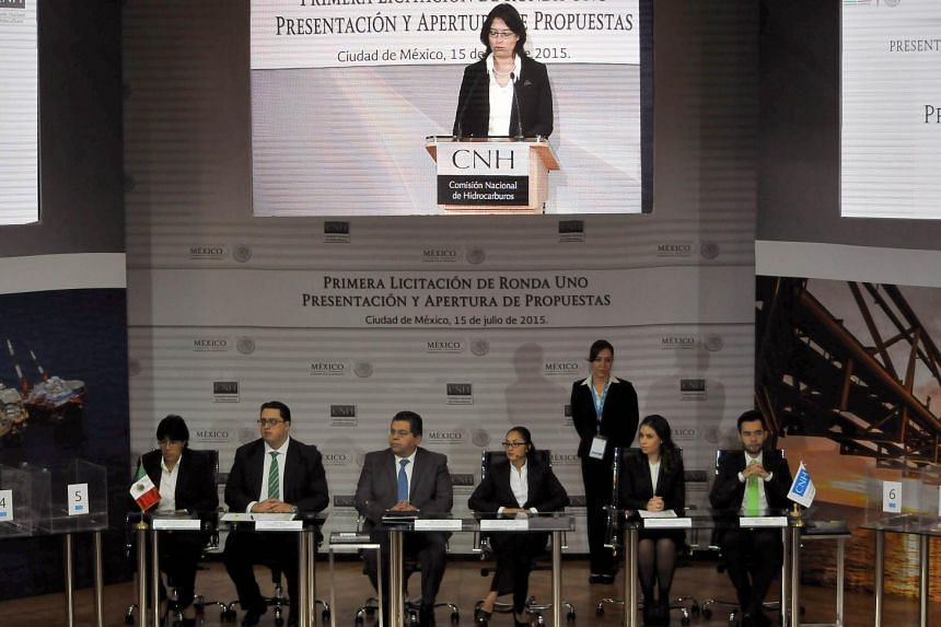 The oil field auction under way in Mexico.