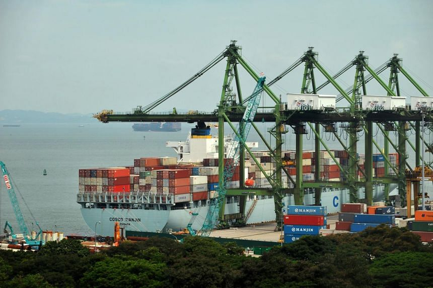 A file picture of a container vessel at the Singapore Port. Non-oil domestic exports (NODX) in Singapore grew by a better-than-expected 4.7 per cent year-on-year in June. PHOTO: SPH