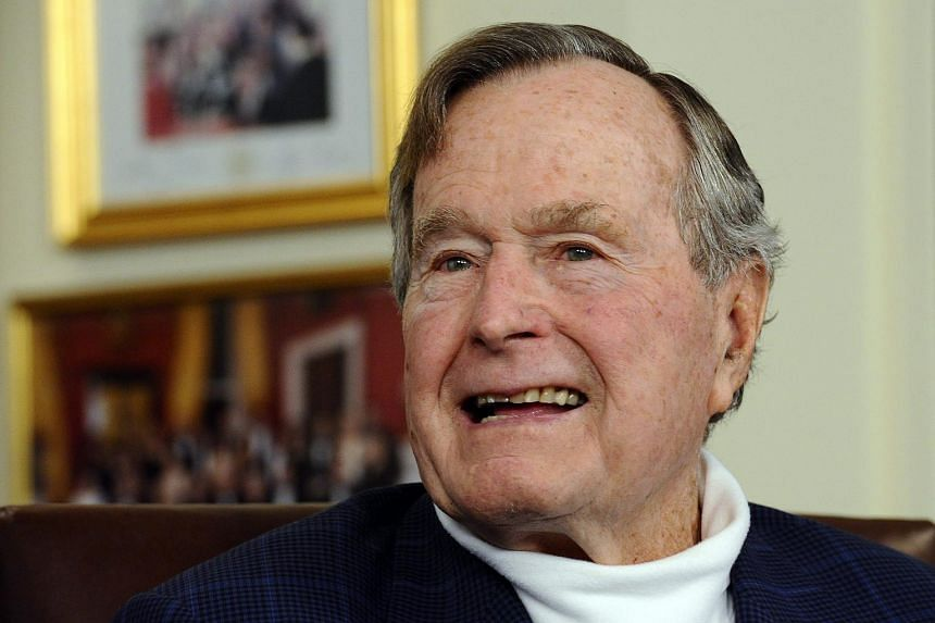 Former US President George H.W. Bush in his office in Houston, Texas.