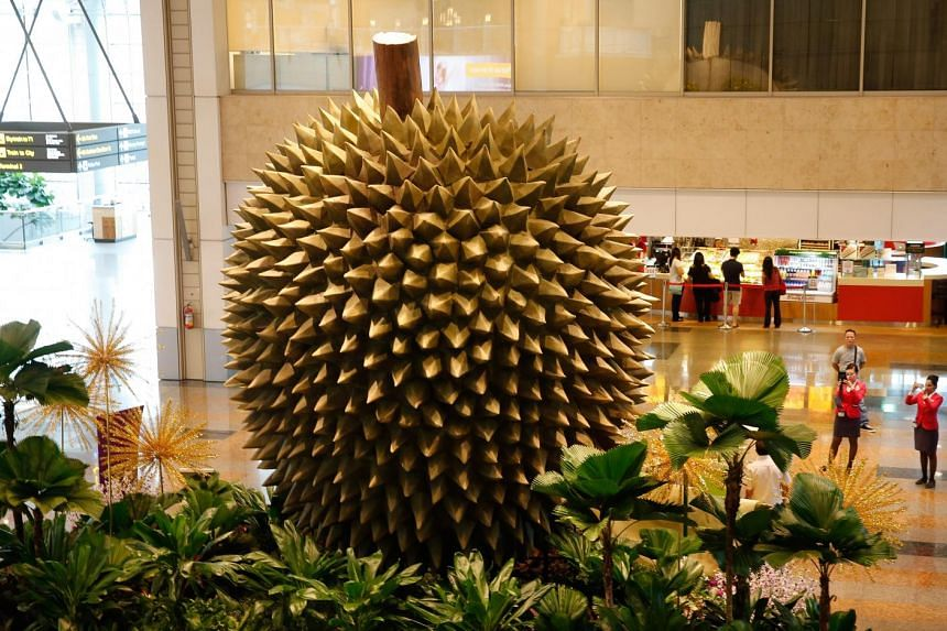 The durian topiary at Changi Airport, one of the 50 attractions in the airport's SG50 trail.