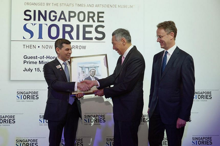 PM Lee Hsien Loong opens the ST170 exhibition at the ArtScience Museum.