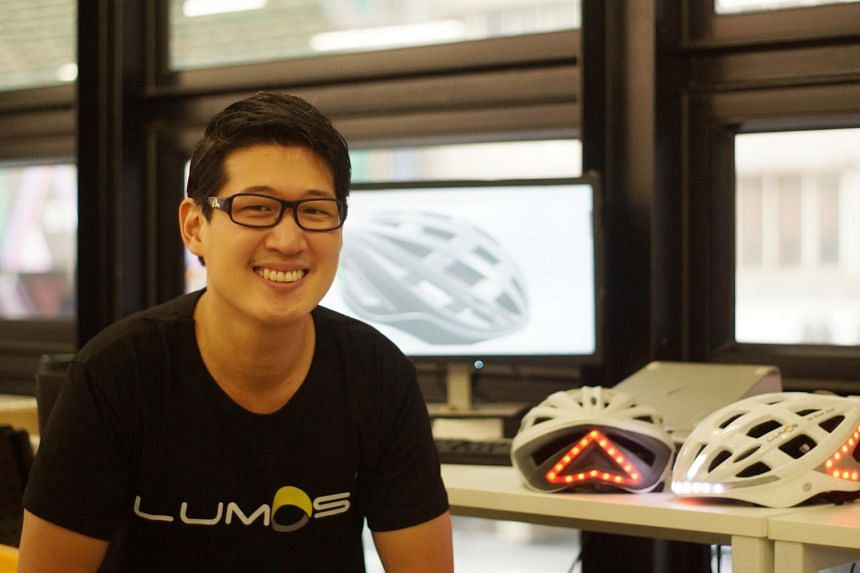 Mr Ding Eu-Wen's Lumos helmet has integrated turn signals and automatic brake lights to warn car and bus drivers of a cyclist's presence. He has raised  $197,700 – and counting – on crowdfunding site Kickstarter for his project.