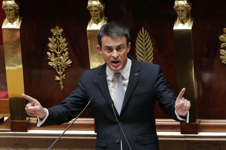 French Prime Minister Manuel Valls delivers his speech about the situation in Greece.