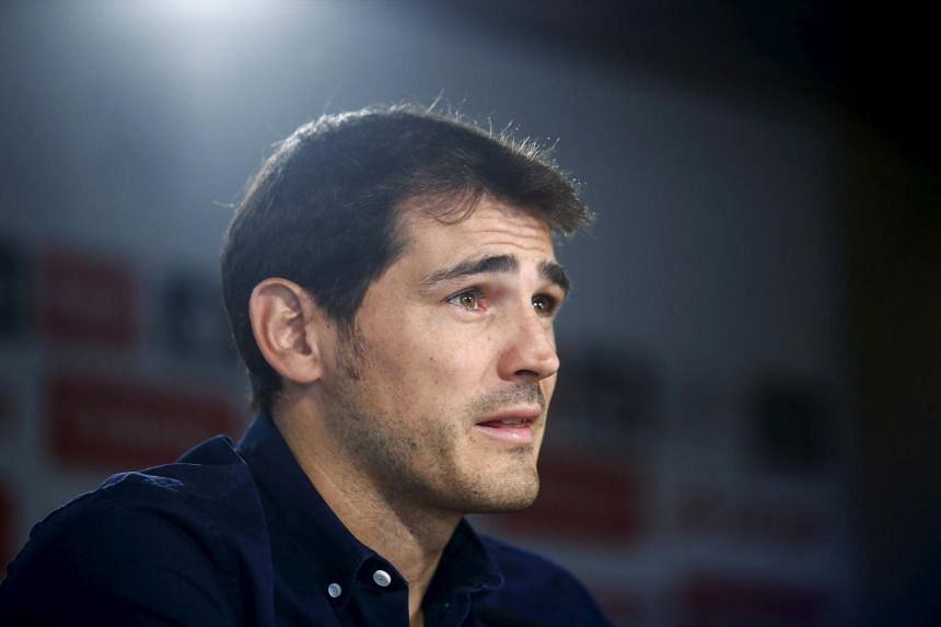 Madrid captain and goalkeeper Iker Casillas reads a statement at Santiago Bernabeu stadium in Madrid, Spain on July 12, 2015.