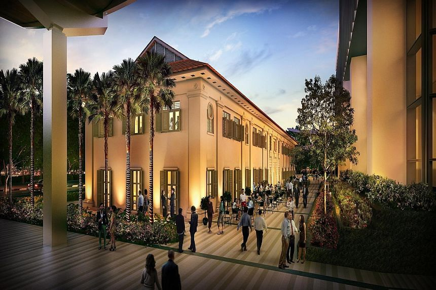 An artist's rendering of South Beach Quarter. The two-storey building was an armoury in colonial days.