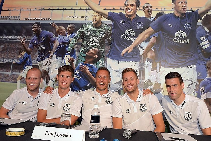 From left: Everton players Steven Naismith, John Stones, Phil Jagielka, Gerard Deulofeu and Seamus Coleman at the Chang event for a fans' meet-and-greet session.