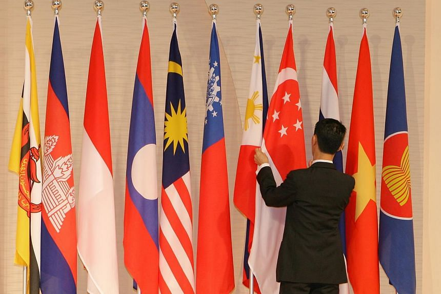 The flags of the 10 Asean member countries at the Shangri-la hotel.