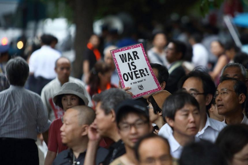 Protesters rallying against security bills in Tokyo on July 16.