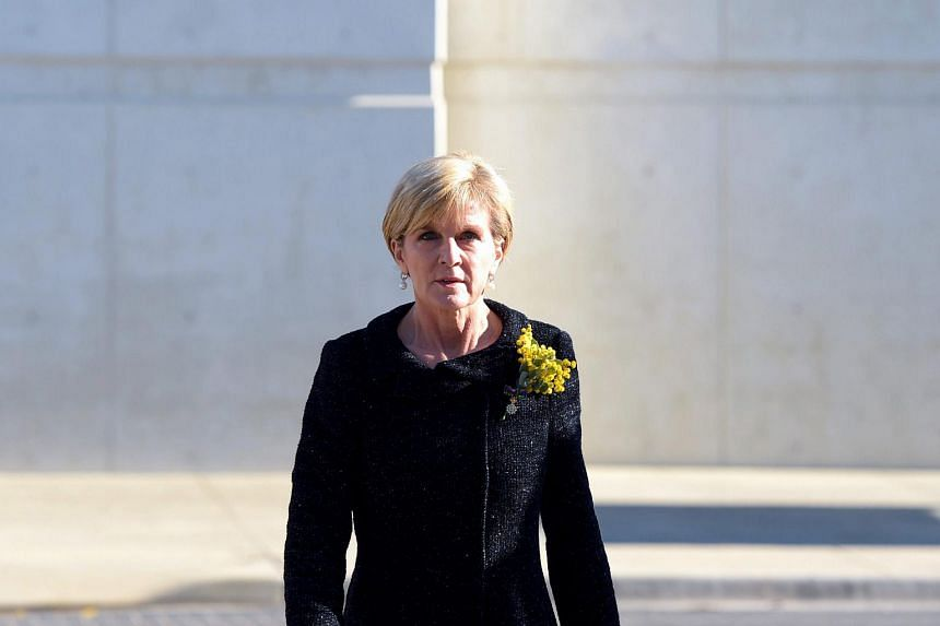 Australian Foreign Minister Julie Bishop attending a national memorial service for Flight MH17 victims in Canberra.