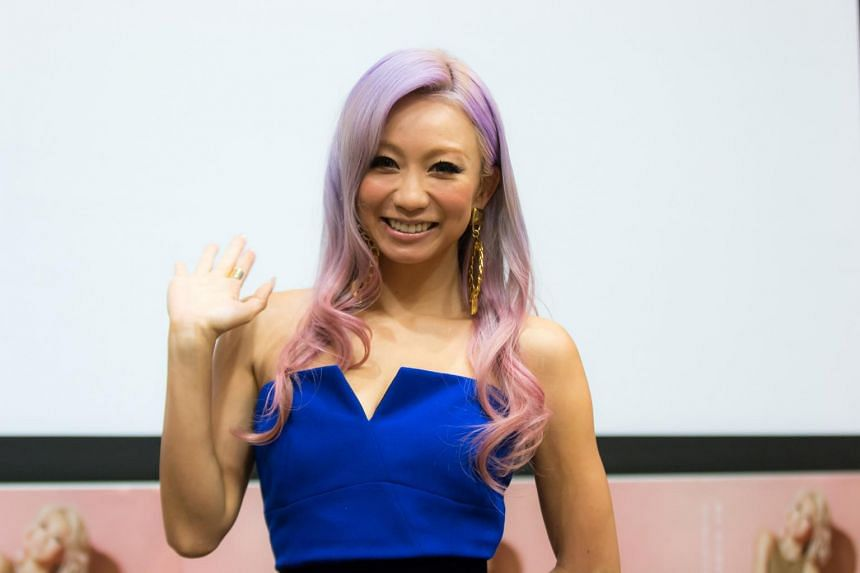 Japanese pop queen Koda Kumi at a press conference on the eve of her Singapore concert.