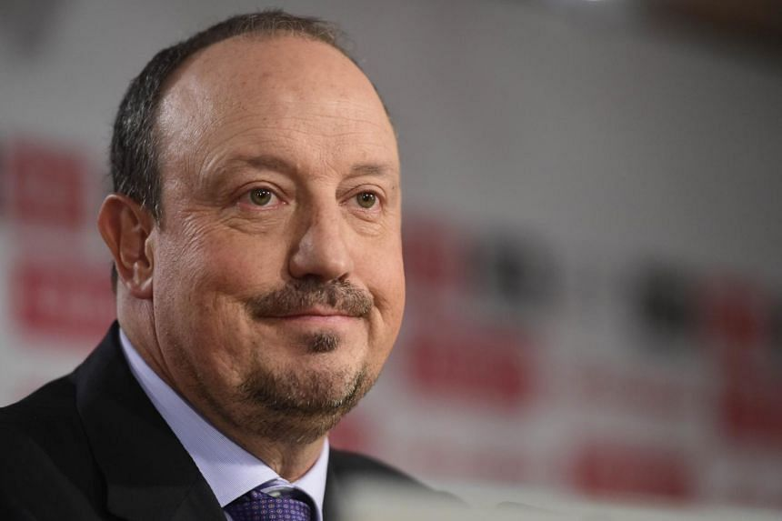 The new head-coach of Real Madrid football team, Rafael Benitez looks on during a press conference at the Santiago Bernabeu stadium in Madrid on June 3, 2015.