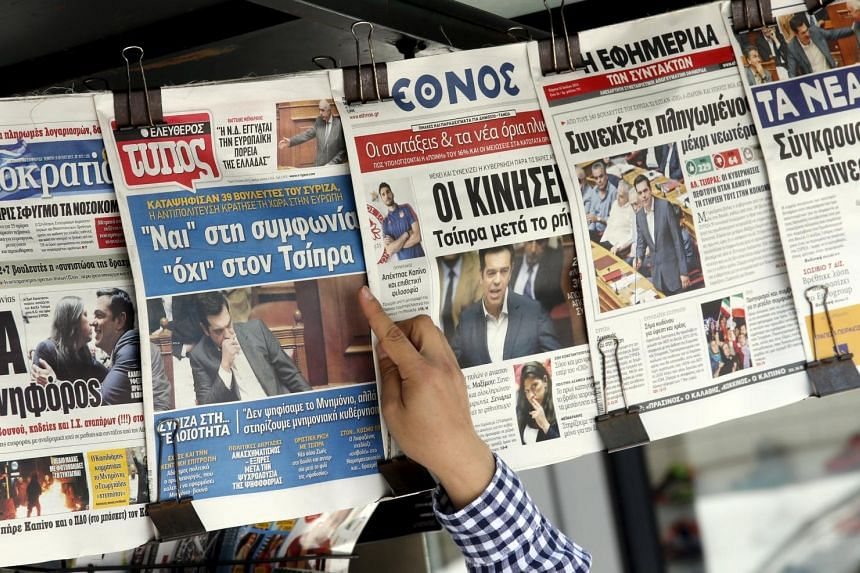 Front pages of newspapers in central Athens, Greece, on July 16, 2015.