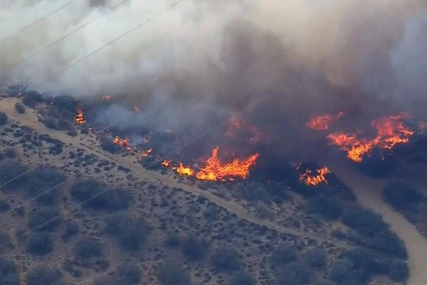 The North Fire burns near the Cajon Pass, California in the frame grab from KNBC video on July 17, 2015.