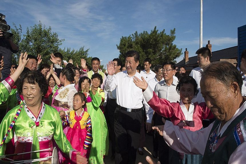 Chinese President Xi Jinping visited Yanbian, which is nestled in the north-eastern corner of the sensitive border with North Korea and is populated by ethnic Koreans, state media reported yesterday. He arrived on Thursday, wading into rice fields, c