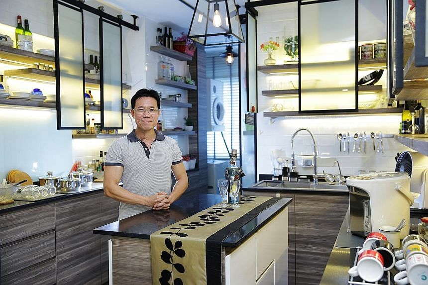 In the home of Mr Aeden Tang (above), there is a display chiller (far left) and a bar counter table converted from the bonnet of a tractor's head (left).